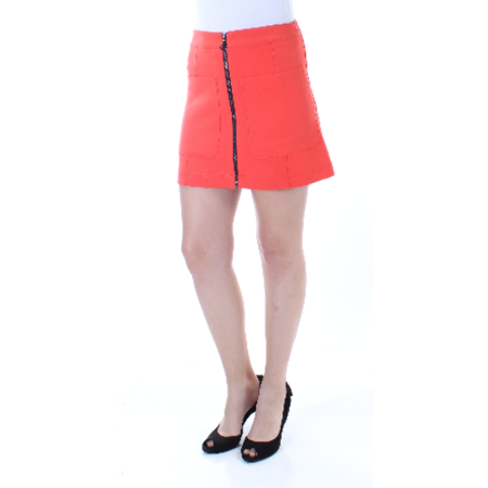 RACHEL ROY Womens Orange Zippered Pocketed Mini A-Line Skirt  Size: 4