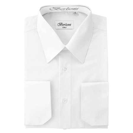 Wear French Cuff Shirts - Berlioni Men's Italian French Convertible Cuff Solid Dress Shirt