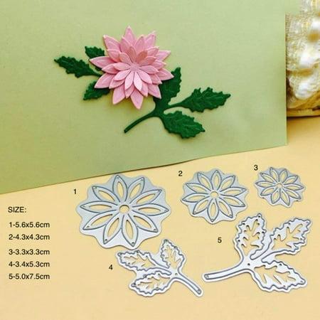 Embossing Template Flower (Whitelotous 5pcs Flower Leaves Cutting Dies Handmade DIY Stencils Template Embossing for Card Scrapbooking Craft)