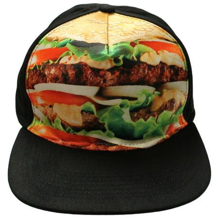 Hamburger Cheeseburger Sublimation Premium Snap Back Baseball Cap Hat (One size Fits All 10 and up) - Hamburger Hat