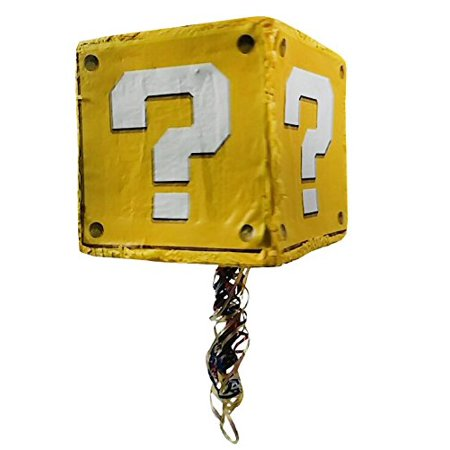 Question Block Pinata, Party Game, Photo Prop, Birthday Centerpiece and Room Decoration](80th Birthday Centerpieces Decorations)