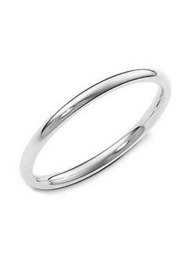 2MM Sterling Silver High Polish Plain Dome Tarnish Resistant Comfort Fit Wedding Band Ring Sz 7