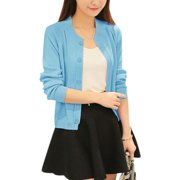 Woman Long Sleeve Round Neck Button Down Knit Cardigan Light Blue XS