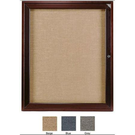 36 in. x 30 in. 1-Door Bronze Aluminum Frame Enclosed Fabric Tackboard - Blue