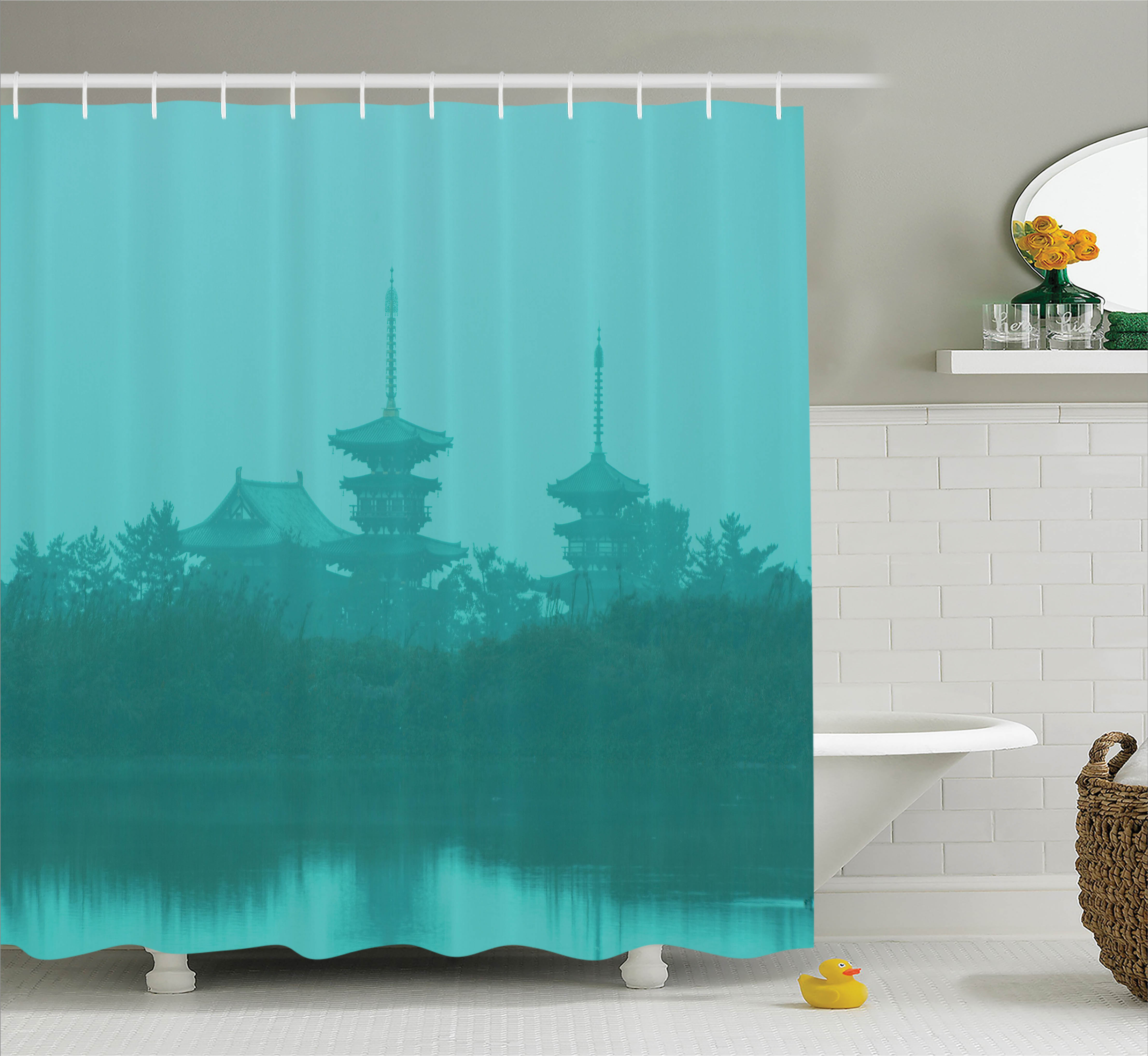 Turquoise Shower Curtain Set, Various Temples above the Sea Holy Tank in Fog Symbolic Faith Custom Pagoda Monochrome Print, Bathroom Decor, Turquoise, by Ambesonne