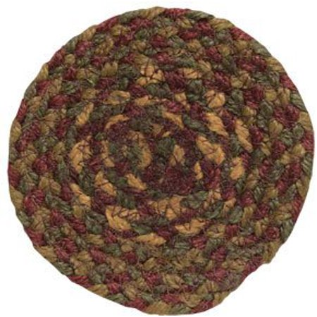 Cinnamon Braided Jute Coaster Country Red Tan Brown Olive Green Primitive Home Décor