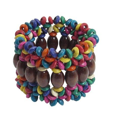 (Unique Bargains Unique Bargains Lady Dark Brown Wooden Oval Shape Bead Coconut Shell Elastic Braided Bracelet)