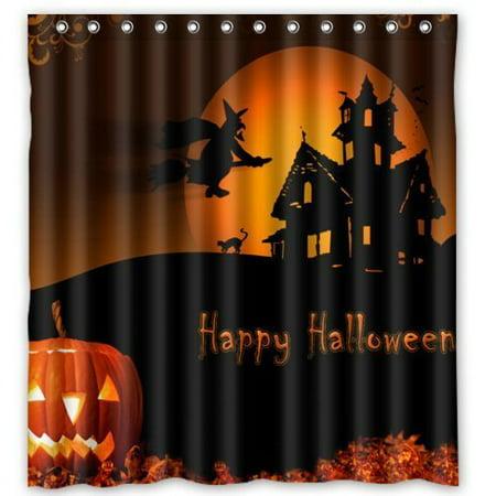 Halloween Shower Curtain Set (GreenDecor Halloween Pumpkin Waterproof Shower Curtain Set with Hooks Bathroom Accessories Size 66x72)