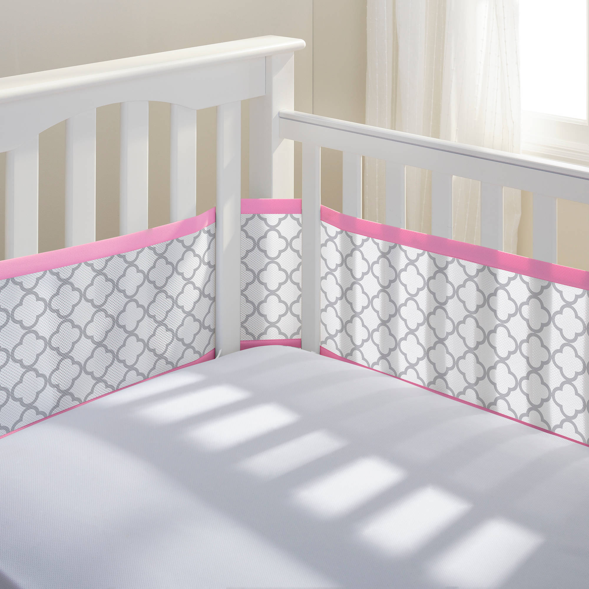 Breathable Mesh Crib Liner- Pink/Grey Clover