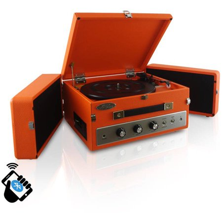 Pyle-Home Retro Vintage Classic Style Bluetooth Turntable Record Player with Vinyl-to-MP3 Recording, Orange by