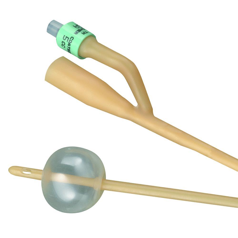 Bardia 2-way silicone-elastomer coated latex foley catheter 18 fr 5 cc part no. 123518a (12/case)
