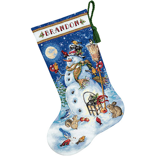 "Dimensions Gold Collection ""Snowman & Friends"" Stocking Counted Cross Stitch Kit, 16""L"