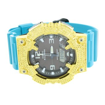 Casio Men Watch Blue Silicone Band Solar Powered Alarm Lab Created Cubic Zirconia Bezel G-Shock