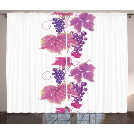 Grapes Home Decor Curtains 2 Panels Set, Vibrant Twiggy Branch with ...
