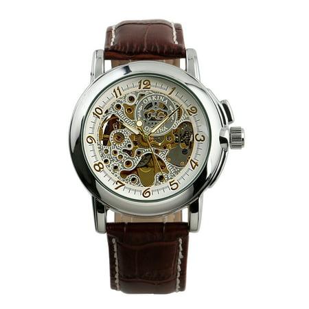 Automatic Mechanical Sport Wrist Watch Fashion Men's Skeleton Leather - Skeleton Wrist