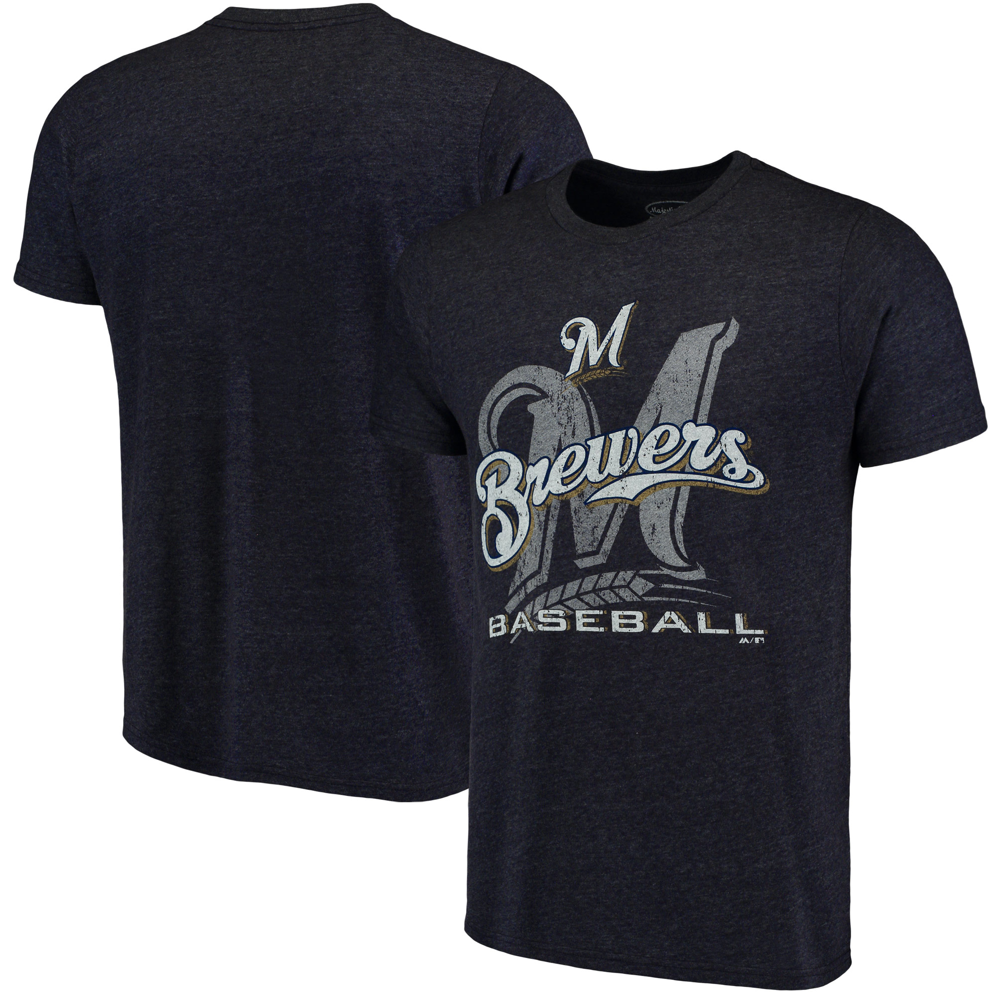 Milwaukee Brewers Majestic Threads Visionary Tri-Blend T-Shirt - Navy