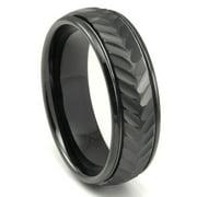 Titanium Kay Black Tungsten Carbide 8MM Chevron Newport Comfort Fit Mens Wedding Band Ring Sz 10.0