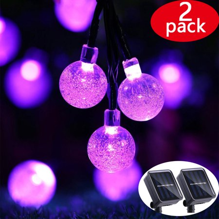 2pack icicle solar led christmas string lights outdoor globe ball solar string light 197ft 30 led fairy bubble crystal lights for christmas treeholiday