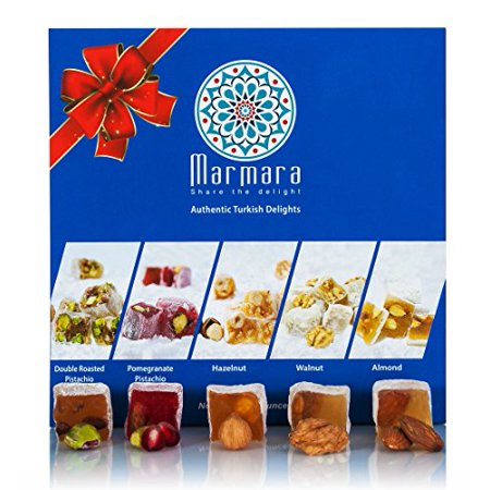 Turkish Delight Candy By Marmara with Double Roasted Pistachio Pomegranate Walnuts Hazelnut Almond Mix Variety Assorted Nuts Gourmet Holiday Gift Box Candy Dessert Confection 1 Lb - 450 G