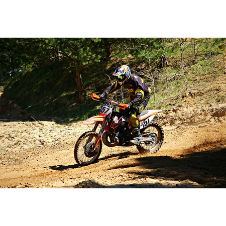 Canvas Print Enduro Motocross Motorcycle Racing Cross Stretched Canvas 10 x 14