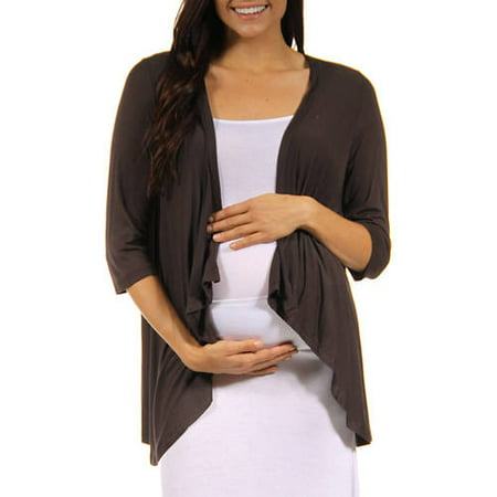 24/7 Comfort Apparel Women's Maternity 3/4-sleeve Open Shrug