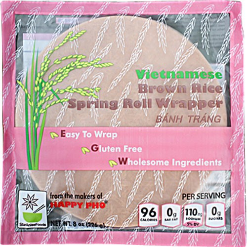 Happy Pho Vietnamese Brown Rice Spring Roll Wrappers, 8 oz