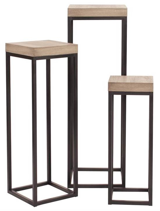 3-Pc Nesting Table Set in Graphite Metal and Natural Wood Veneer by Howard Elliott Collection