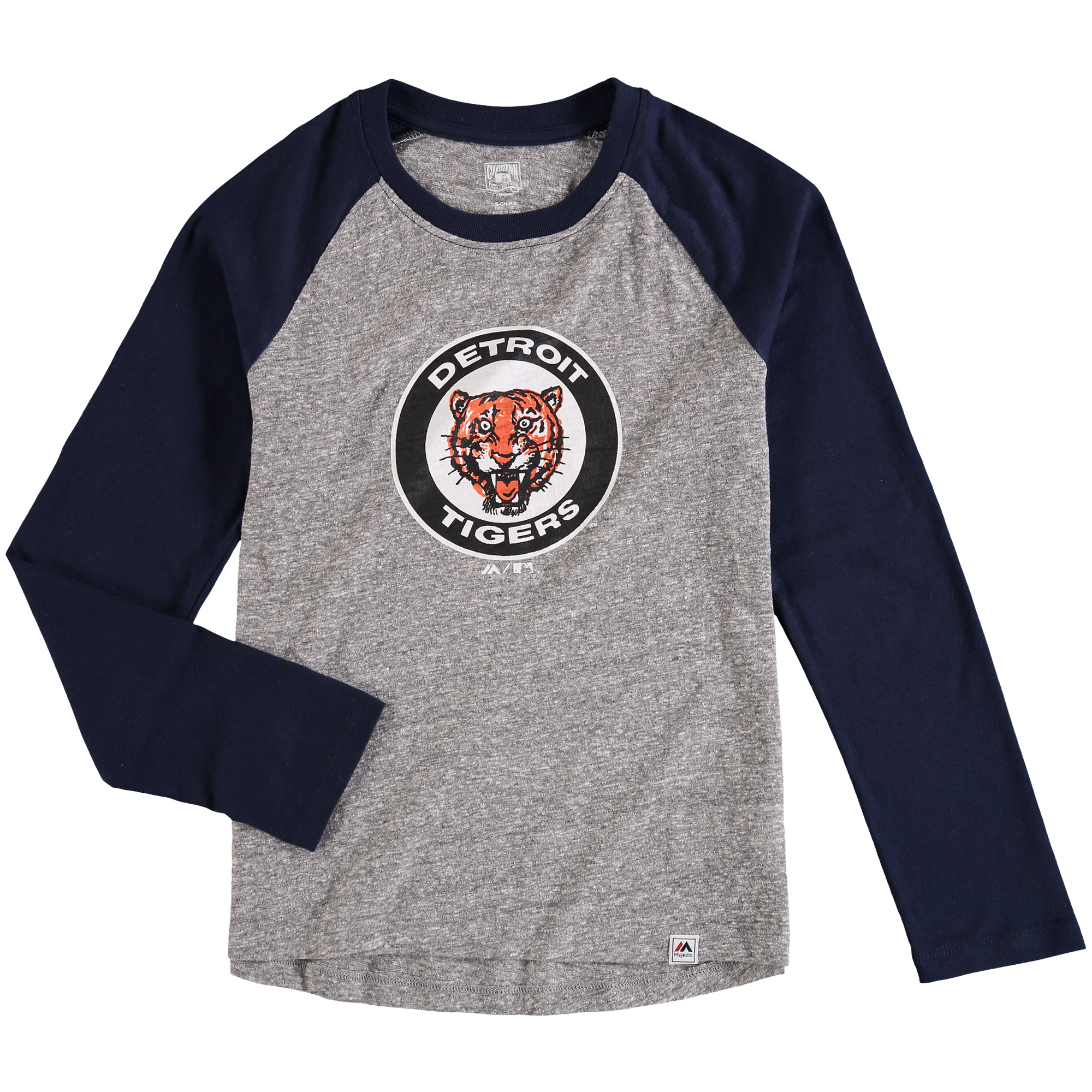 Detroit Tigers Majestic Youth Two to One Margin Long Sleeve Raglan T-Shirt - Gray