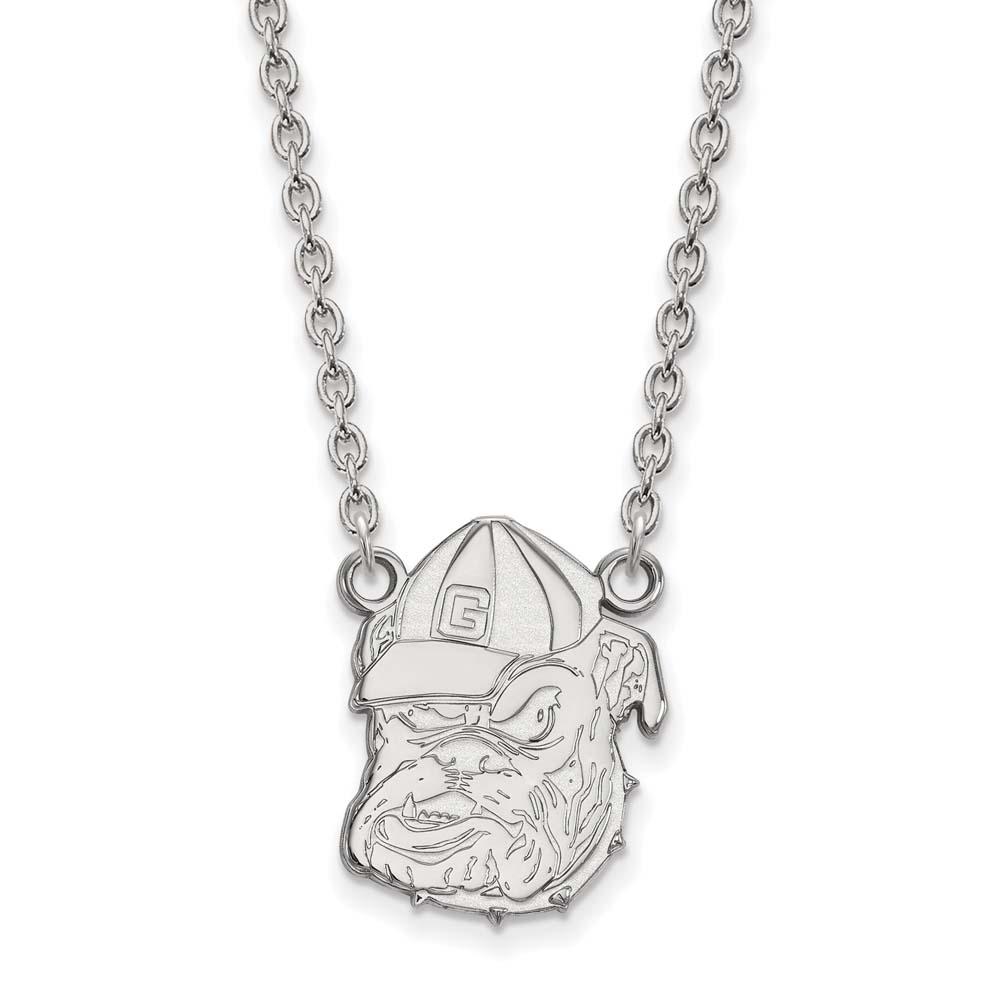 Georgia Large (3/4 Inch) Pendant w/ Necklace (10k White Gold)