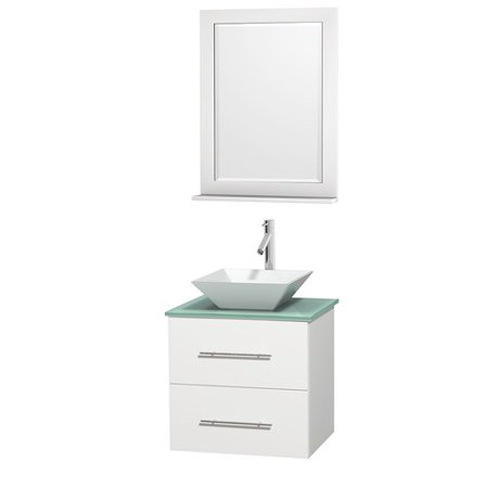 Wyndham Collection Centra 24 inch Single Bathroom Vanity in Matte White, Green Glass Countertop, Pyra White Porcelain Sink, and 24 inch Mirror (Matte Glass Countertop)