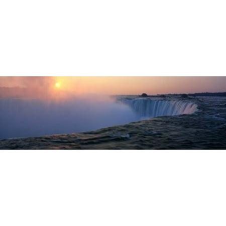 Sunrise Horseshoe Falls Niagara Falls NY USA Canvas Art - Panoramic Images (18 x 6)