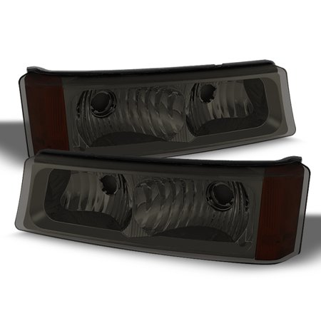 Chevy Silverado Turn Signal - Fits 2003-2006 Chevy Silverado Smoke Bumper Turn Signal Parking Lights Lamps L+R