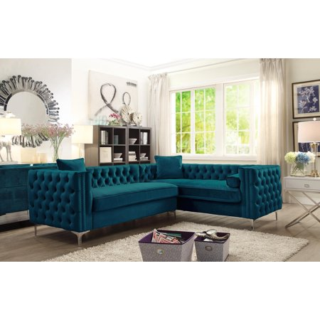 Strange Chic Home Susan Right Hand Facing Sectional Sofa L Shape Velvet Button Tufted With Silver Nail Head Trim Silvertone Metal Y Leg With 3 Accent Pillows Ibusinesslaw Wood Chair Design Ideas Ibusinesslaworg