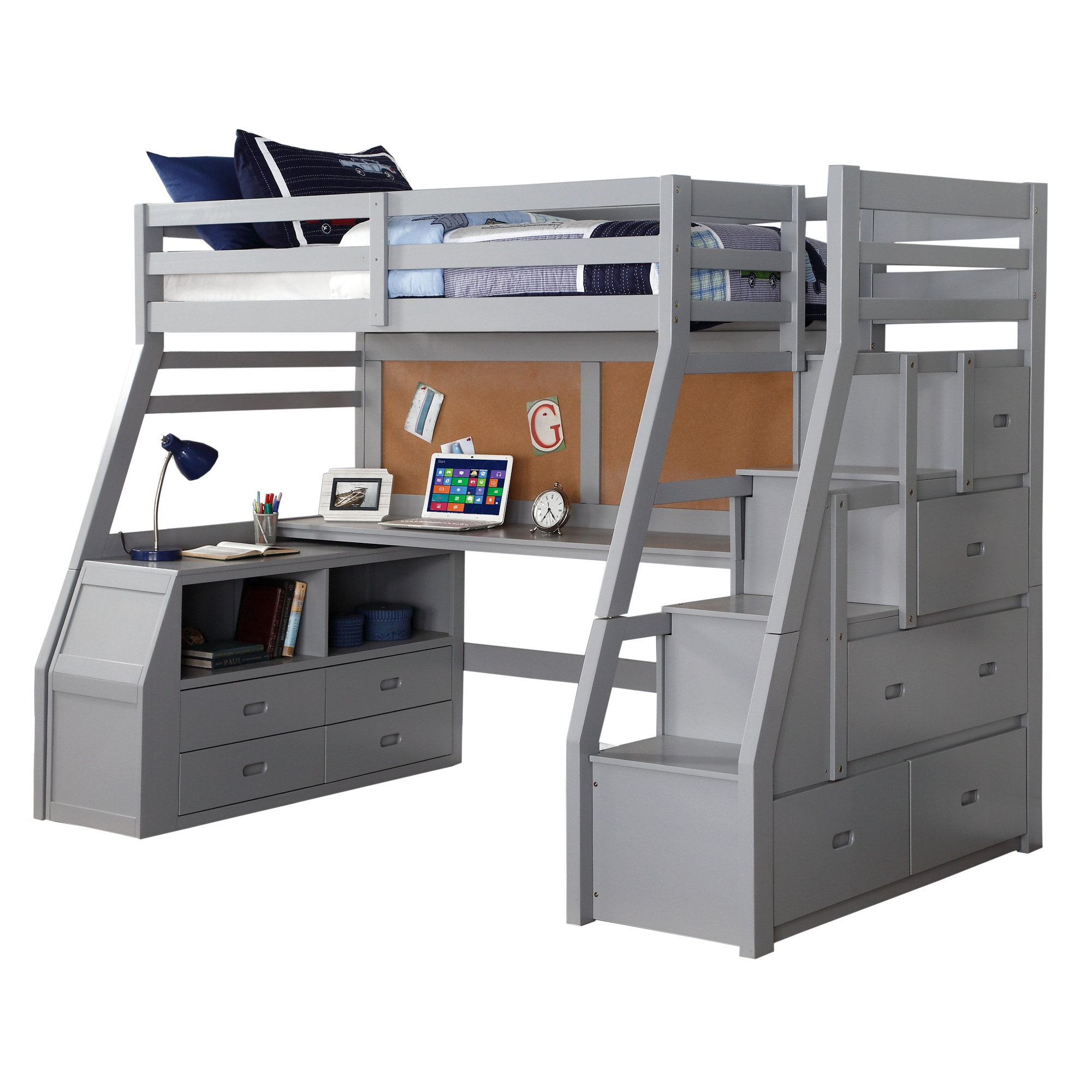 Modern Wooden Twin Size Loft Bed with Desk and Storage ...