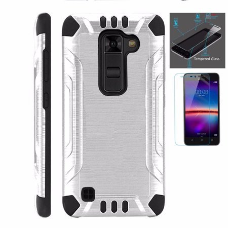 For LG Stylo 2 Plus MS550 (Metro PCS / T-Mobile Only) Case + Tempered Glass  Screen Protector / Slim Dual Layer Brushed Texture Armor Hybrid TPU Combat