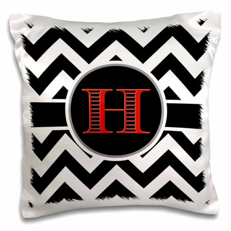 3dRose Black and white chevron monogram red initial H - Pillow Case, 16 by 16-inch - Red And White Chevron