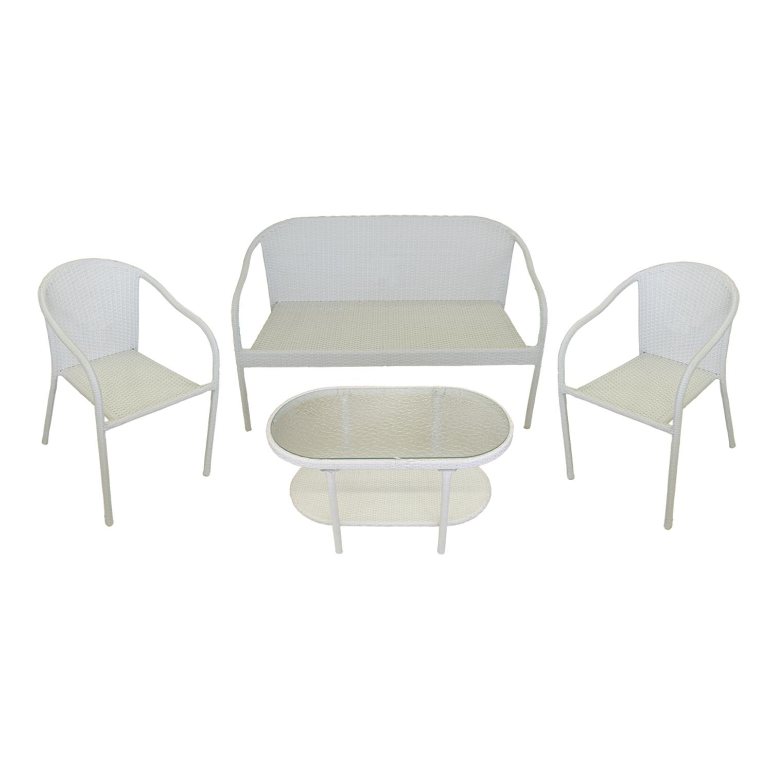 4 Piece White Resin Wicker Patio Furniture Set Loveseat
