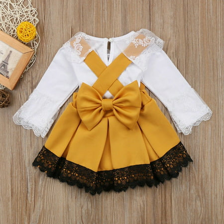 0-24M Newborn Baby Girl Lace Jumpsuit Romper Bodysuit Party Bowknot Skirt Dress Outfit