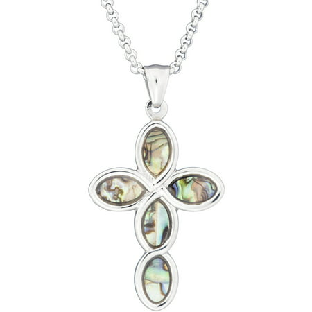 Abalone Shell Jewelry Set (American Steel Jewelry Stainless Steel Cross Pendant with Mother of Pearl Abalone Inlay, 24