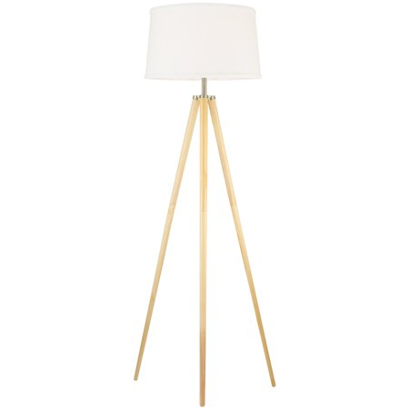 "Revel Grace 60.5"" Contemporary Wooden Tripod Floor Lamp + White Shade"
