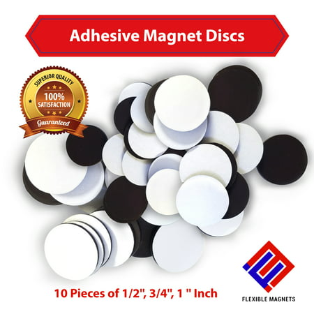 Round Magnet Discs With Adhesive Backing -30 pieces (1/2 inch, ¾ inch, 1 inch- 10 pieces of each) Great for Crafts!](Self Adhesive Magnets)