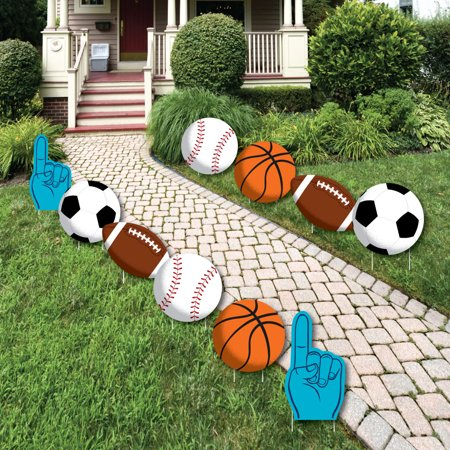 Go, Fight, Win - Sports - Ball Lawn Decorations - Outdoor Baby Shower or Birthday Party Yard Decorations - 10 Piece ()