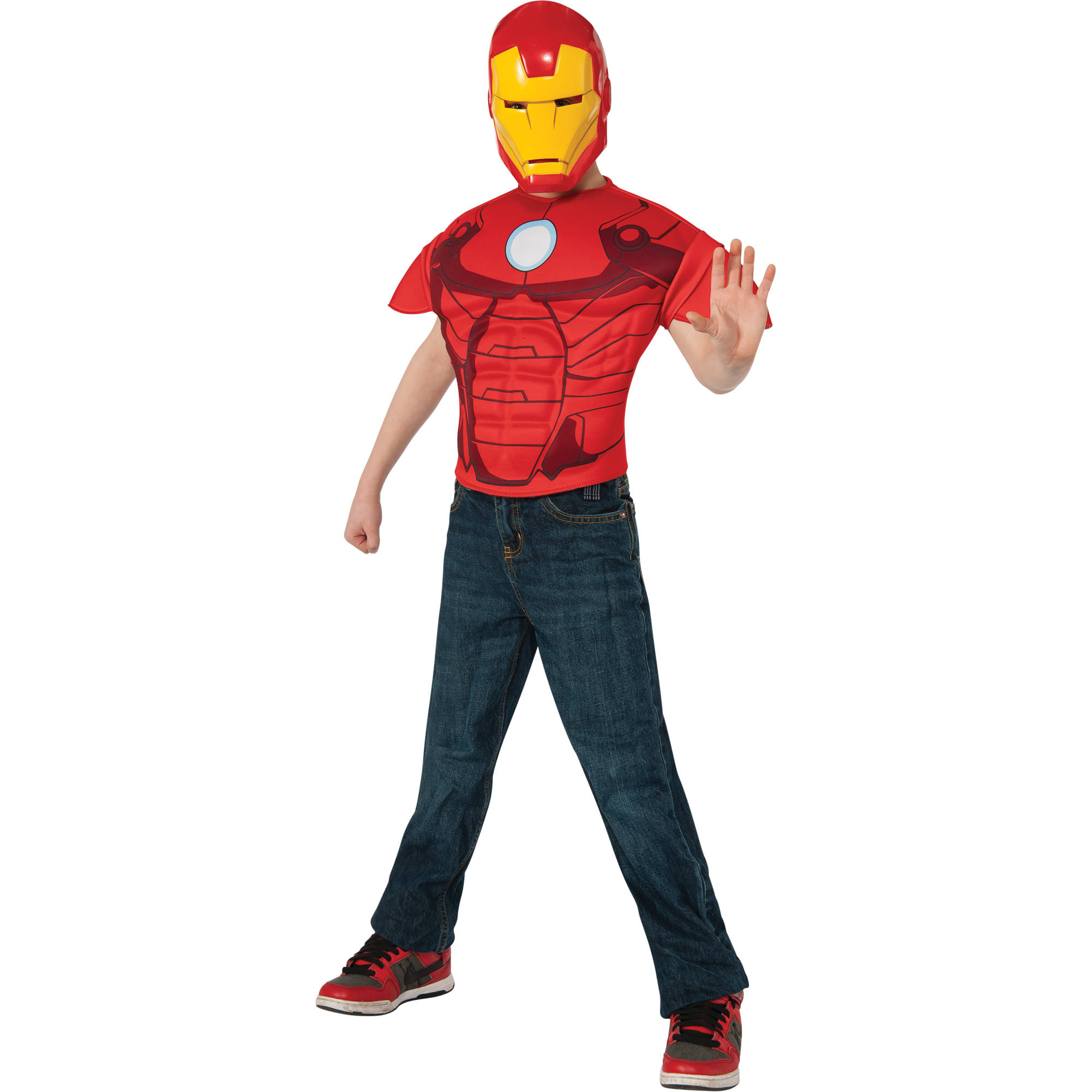 Iron Man Top and Mask Child Halloween Costume, One Size, 8-10