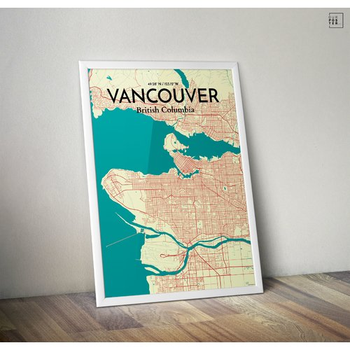 OurPoster.com 'Vancouver City Map' Graphic Art Print Poster in Tricolor