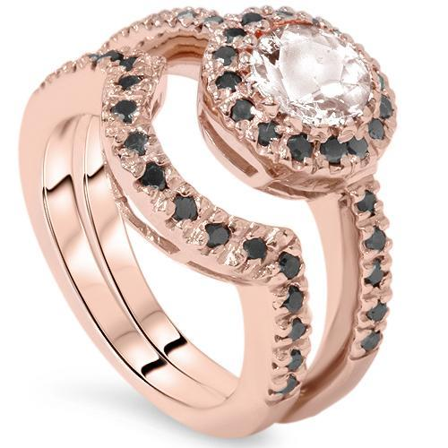1 1/2ct Treated Morganite & Black Diamond Halo Engagement Ring Set 14K Rose Gold