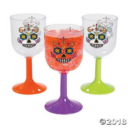 Sugar Skulls Plastic Wine Glasses - Sugar Skull Wine Glass