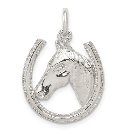 - 925 Sterling Silver Horseshoe Horse Head Pendant Charm Necklace Good Luck Italian Horn Animal For Women