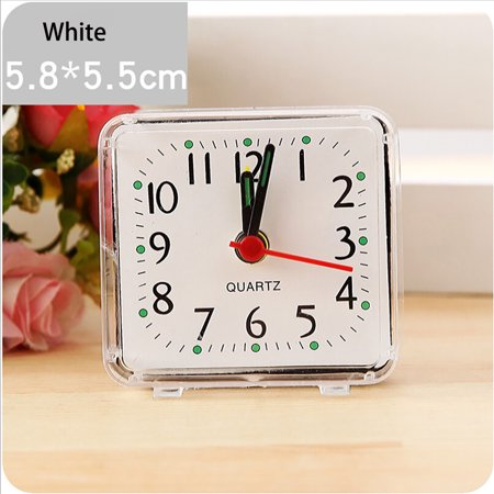 iLH Square Small Bed Compact Travel Quartz Beep Alarm Clock Cute Portable