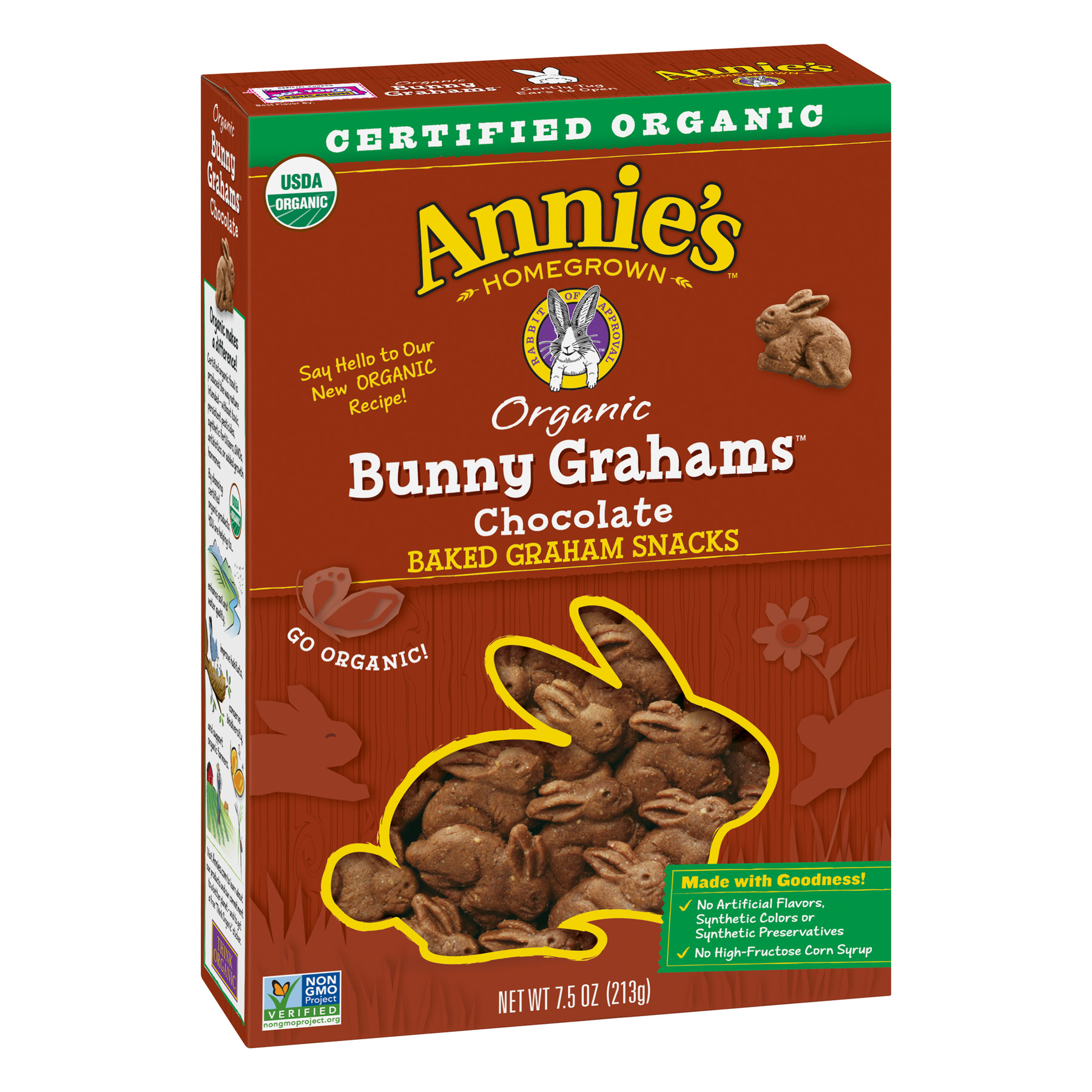 Annie's Bunny Grahams, Chocolate, Graham Snacks, 7.5 oz Box