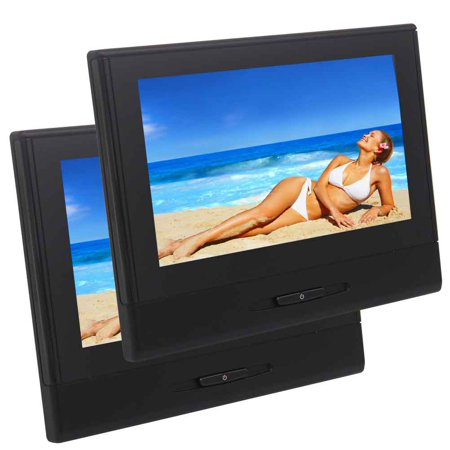 8 Inch 1280 720 2Pcs Detachable Car Headrest Monitor Dvd Player Entertainment System Usb Sd Fm Game Tft Lcd Screen Built In Speaker With Gaming System Support Ir Headphone   Not Included